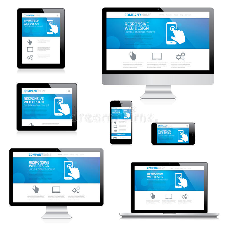 Modern responsive web design computer, laptop, tab. Let and smartphone vectors on white royalty free illustration