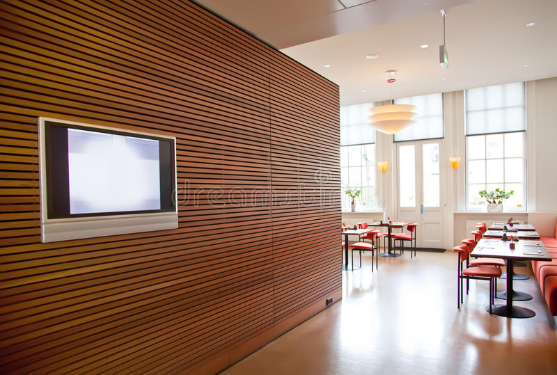 Modern restaurant interior. Modern stylish wall in restaurant interior royalty free stock photos