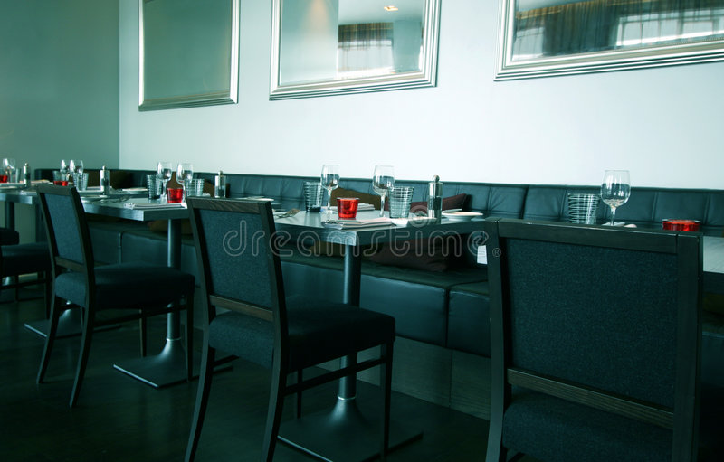 Modern Restaurant Interior. Modern Tables and Chairs in Empty Restaurant stock photos