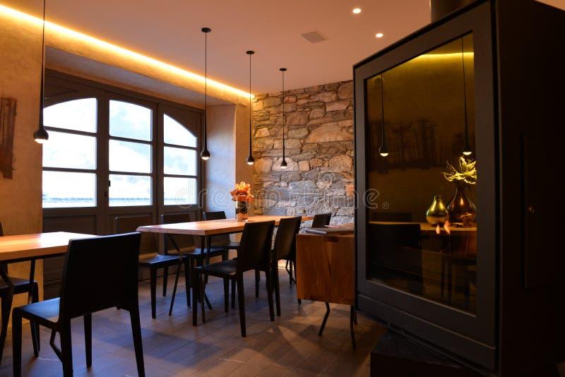 Modern restaurant interior design. Stylish dining room stock photography