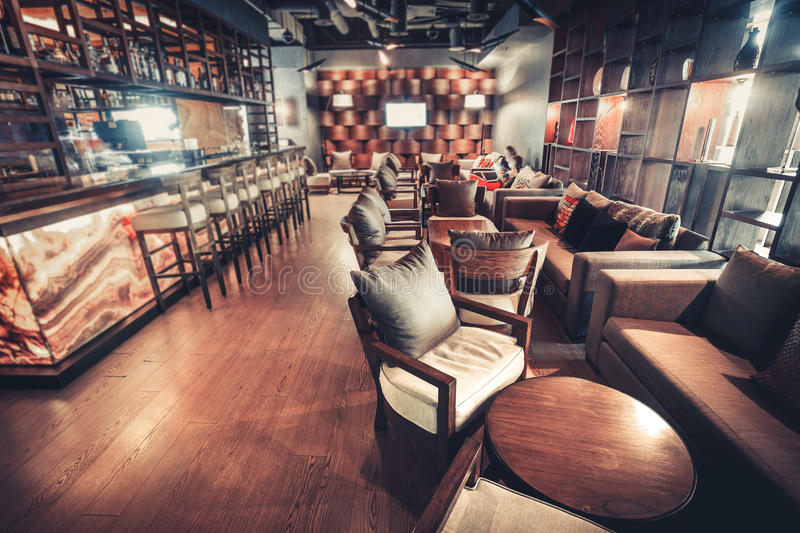 Modern restaurant interior. Modern Kiev's restaurant with with nice and bright interior royalty free stock images