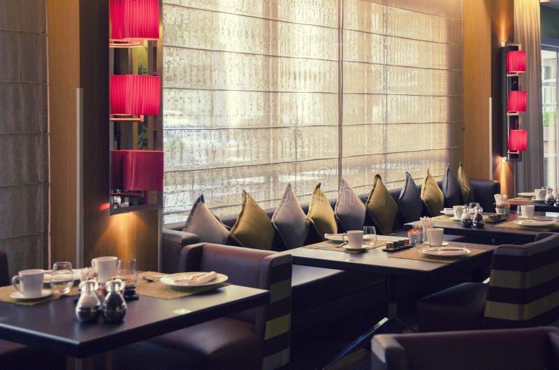 Modern restaurant. Interior of new modern restaurant stock photos