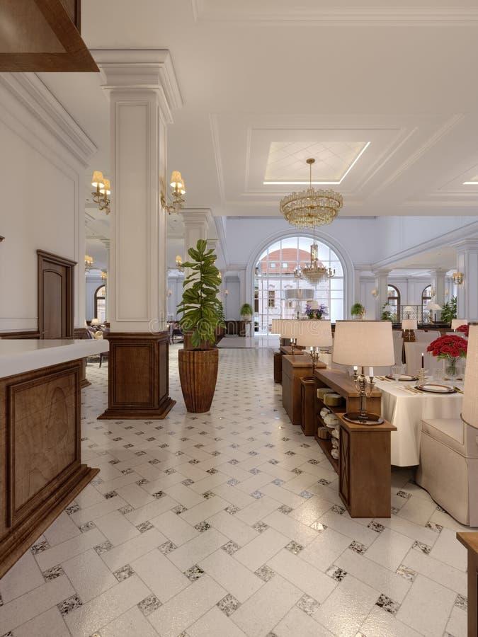 Modern restaurant interior, part of a hotel vector illustration