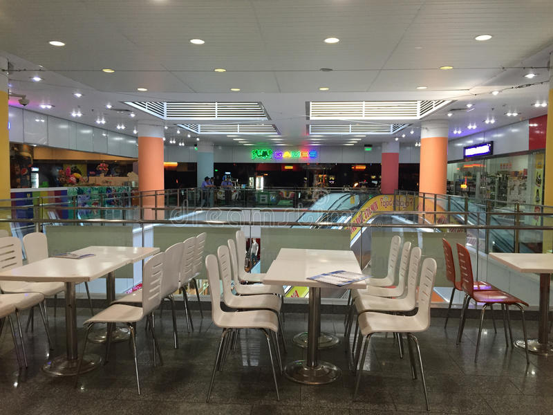 Modern restaurant interior with tables. In Danang city, Vietnam royalty free stock images