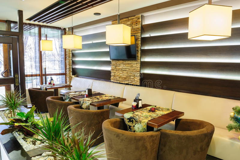 Modern restaurant. Interior with tables and sofas stock photo