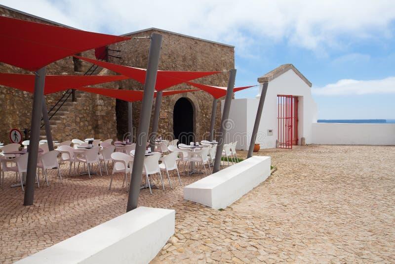 Modern restaurant in lighthouse. SAGRES,PORTUGAL - JULY 5, 2014: Modern restaurant in lighthouse of Cabo de Sao Vicente, Sagres (built in october 1851 stock photo