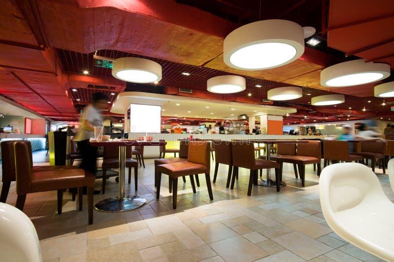 Modern restaurant. With open kitchen stock photos