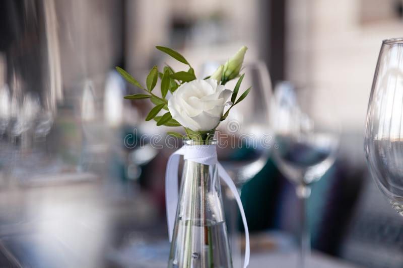 Modern restaurant setting, glass vase with bouquet flowers on table in restaurant. Wine and water glasses stand on wooden table. Transparent glass vase with royalty free stock photos