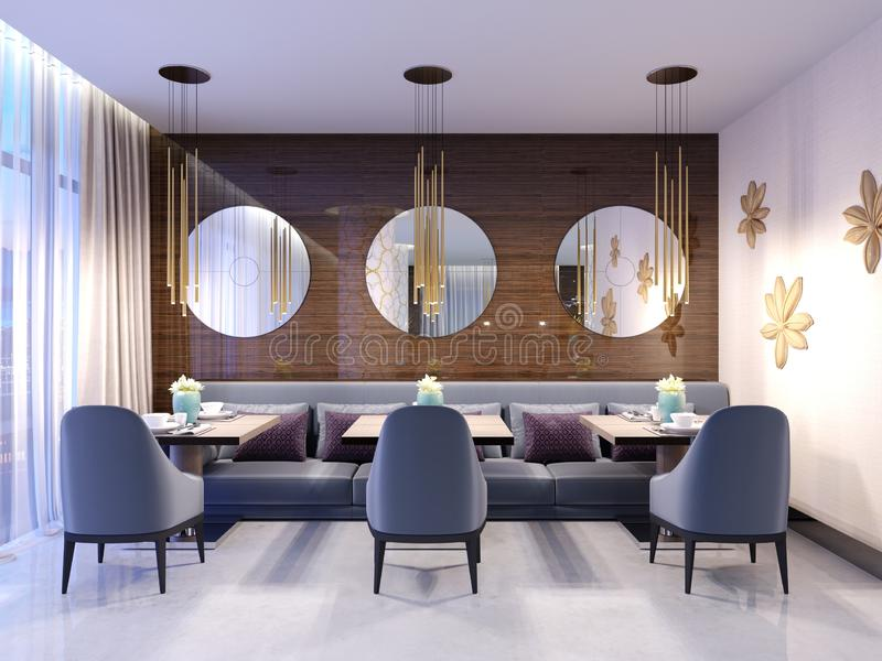 Modern restaurant with wooden decorative wall and round mirrors. Gold pendant lights. Purple sofa and chairs with tables. Served stock illustration