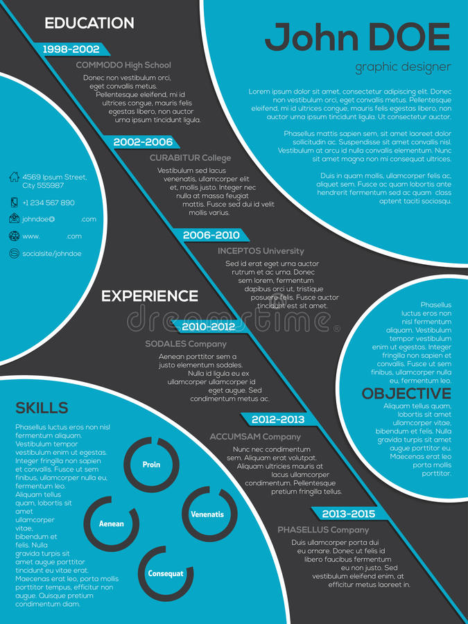 modern resume curriculum vitae with cool circle elements