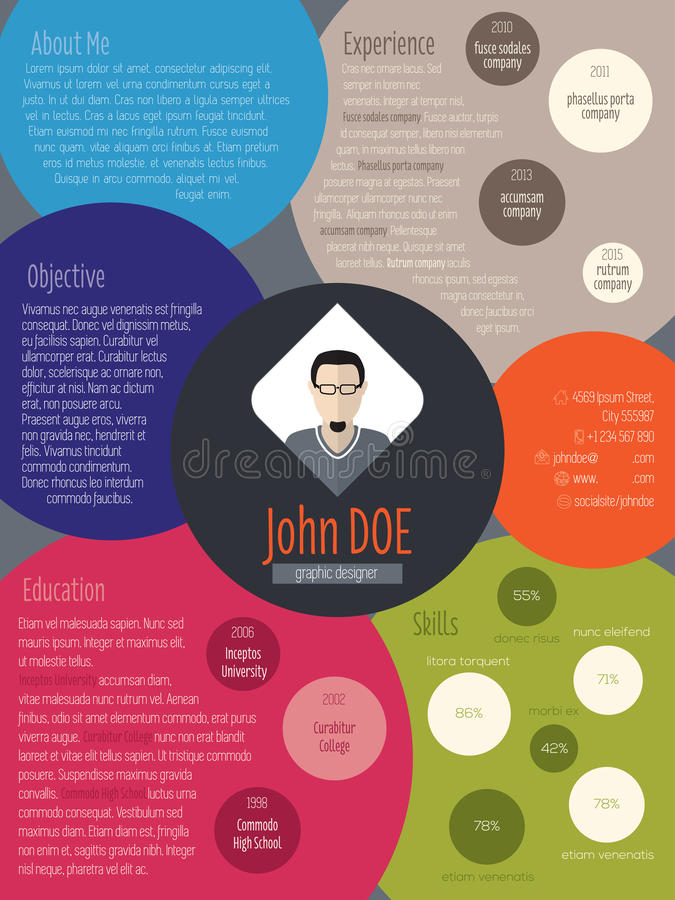 Modern resume curriculum vitae cv ith colored circles. Modern resume curriculum vitae cv design with colored circles stock illustration