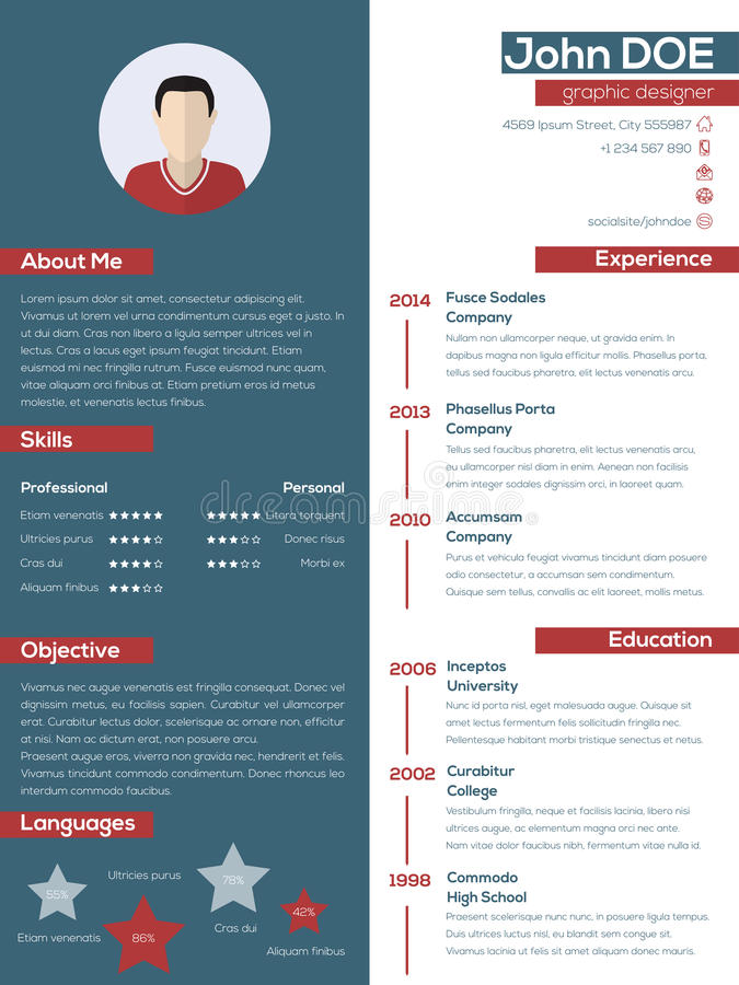 modern resume cv with pastel colors stock vector