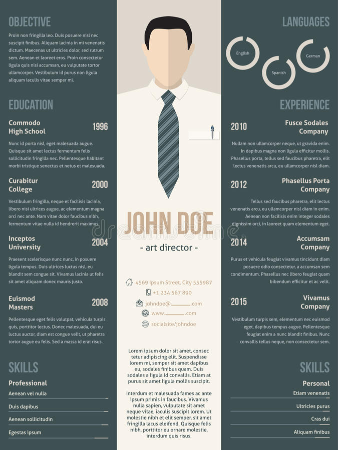 modern resume cv template with business suit stock vector