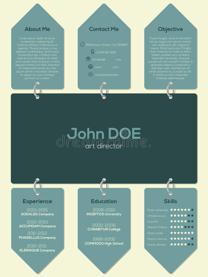 Modern resume cv template with chain and tags vector illustration