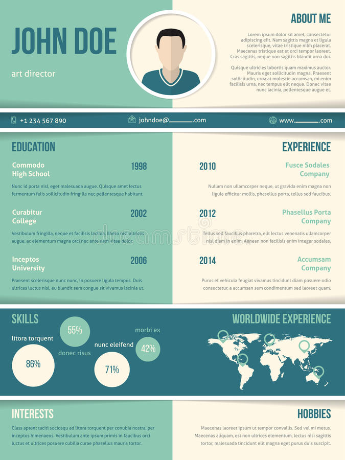 modern resume cv template with color elements stock illustration