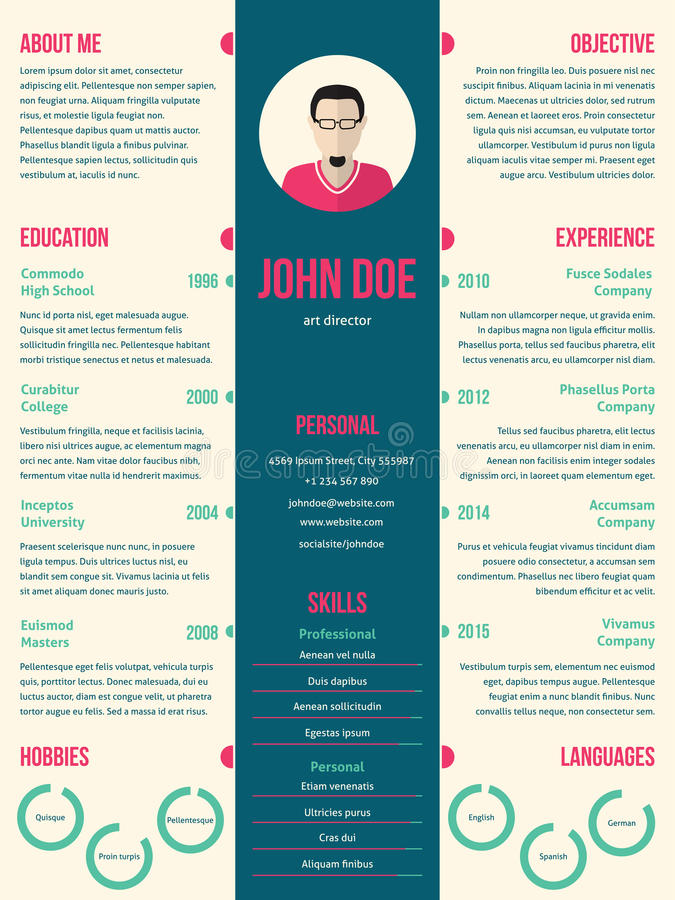 modern resume cv template for employment stock vector illustration