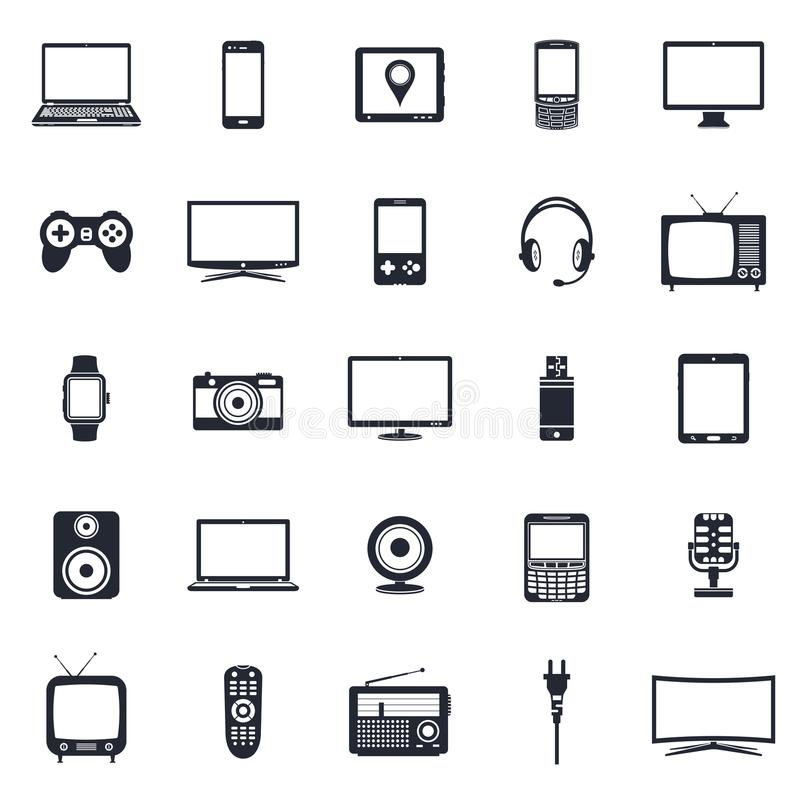 Electronic devices, technology gadgets icons. Modern and retro electronic devices, technology gadgets icons set. Vector illustration royalty free illustration