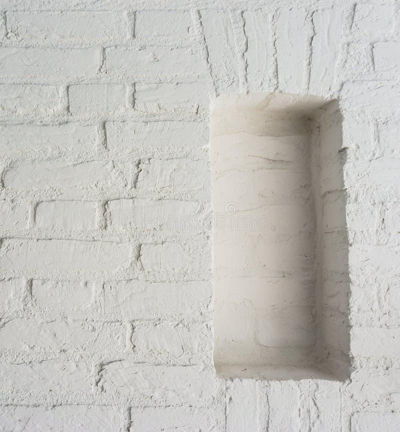 Modern Retro pure white stone brick wall background with empty framework stock image