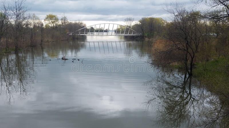 Modern river bridge in Canada royalty free stock photos