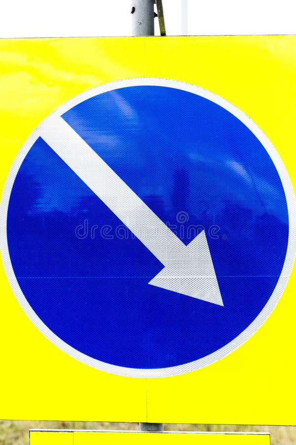 This way road sign. Modern road signs for vehicles infrastructure stock photography royalty free stock photo