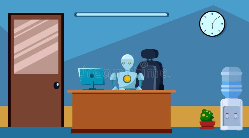 Modern Robot arbeitet im Büro am Schreibtisch und stellt das Konzept der künstlichen Intelligenz vor Flachstil Vector vektor abbildung