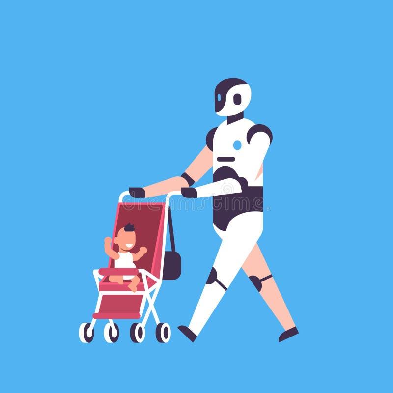 Modern robot babysitter walking stroller helper bot artificial intelligence technology concept blue background flat vector illustration