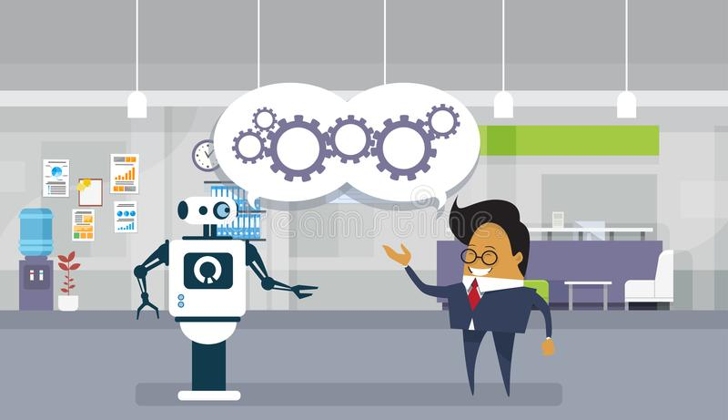 Modern Robot And Business Man Brainstorming Together Teamwork And Cooperation Concept. Flat Vector Illustration royalty free illustration