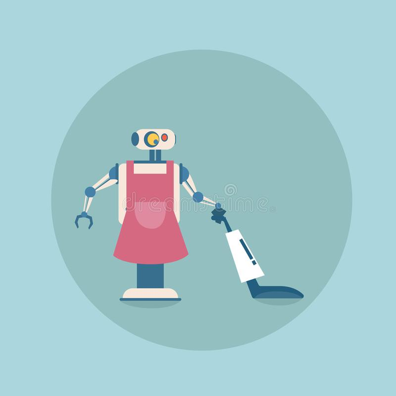 Modern Robot Cleaning With Vacuum Cleaner Icon, Futuristic Artificial Intelligence Mechanism Housekeeping Technology stock illustration