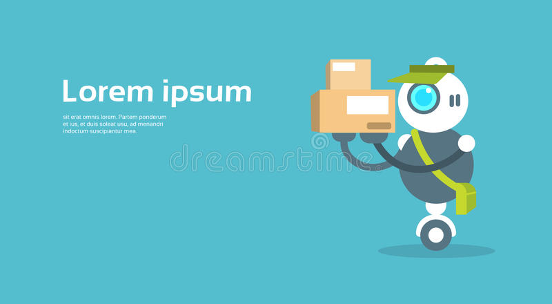 Modern Robot Courier Artificial Intelligence Technology Concept. Flat Vector Illustration vector illustration
