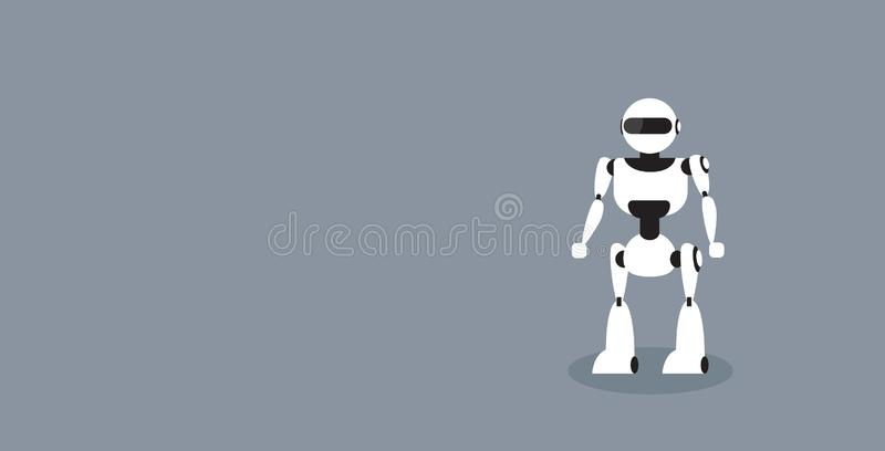Modern robot cute cyborg character standing pose artificial intelligence future technology concept sketch horizontal vector illustration
