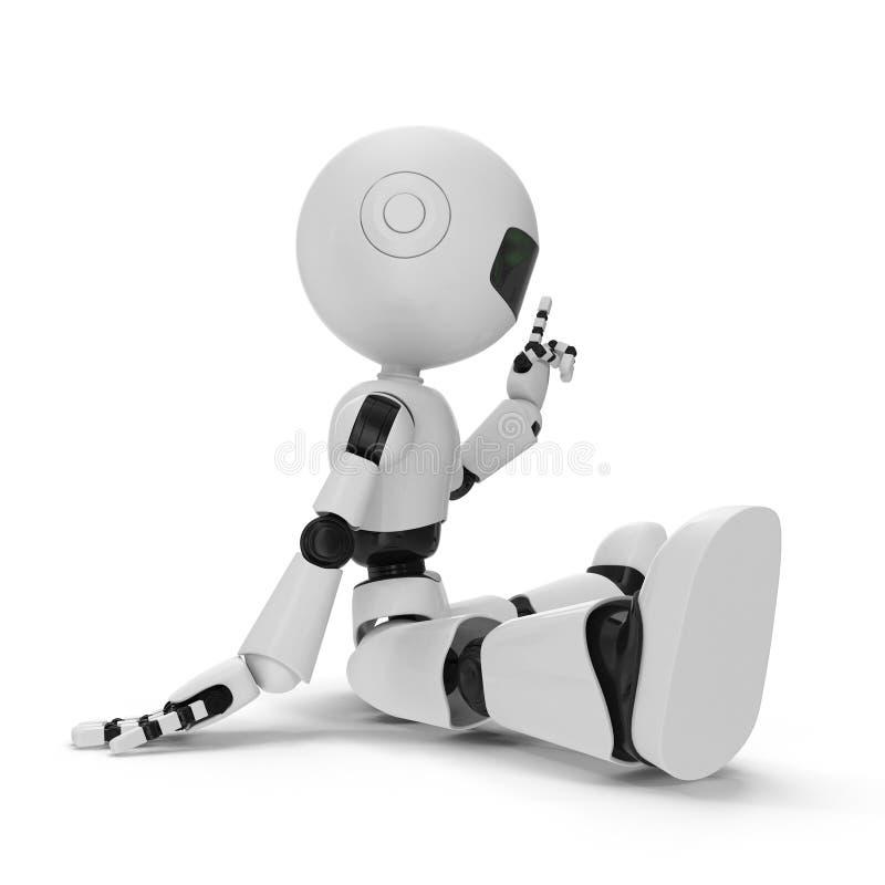 Modern Robot Isolated 3D Illustration On White Background stock illustration