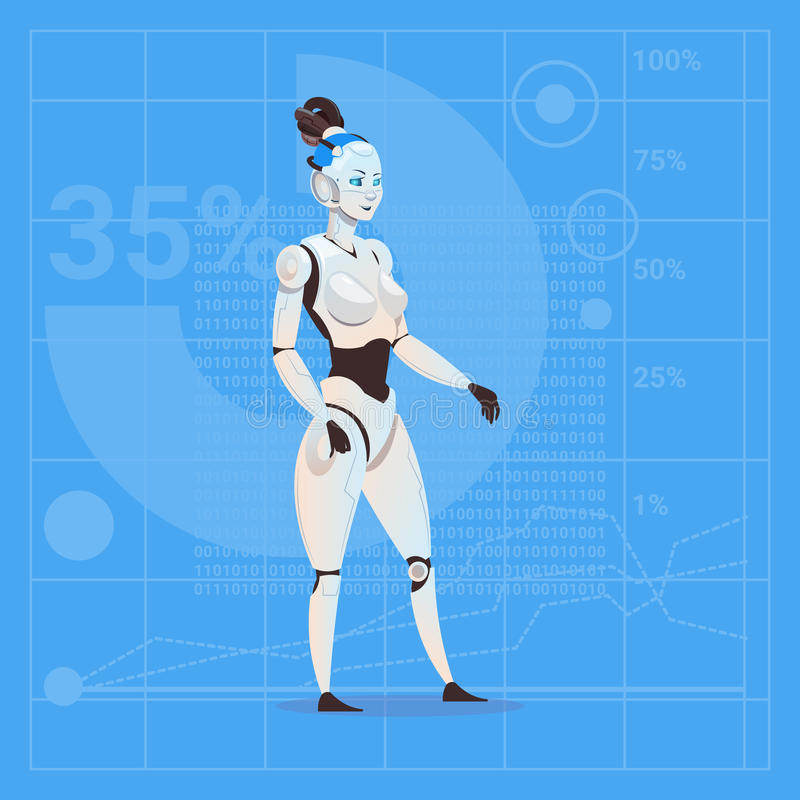 Modern Robot Female Futuristic Artificial Intelligence Technology Concept royalty free illustration