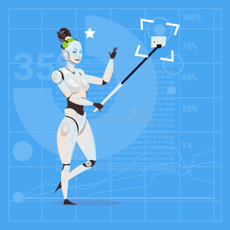Modern Robot Female Taking Selfie Photo Futuristic Artificial Intelligence Technology Concept. Flat Vector Illustration royalty free illustration