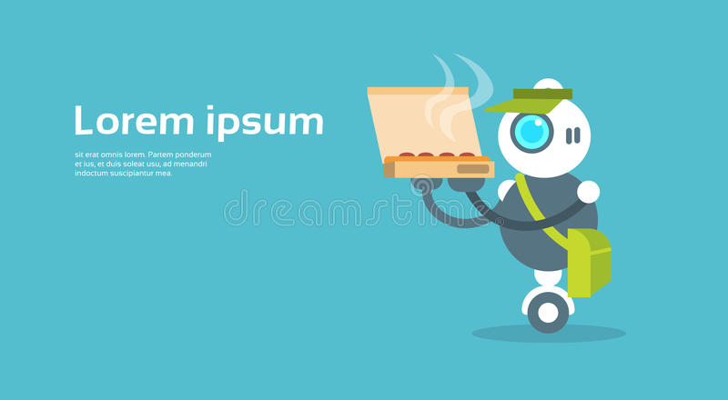 Modern Robot Food Delivery Courier Artificial Intelligence Technology Concept vector illustration