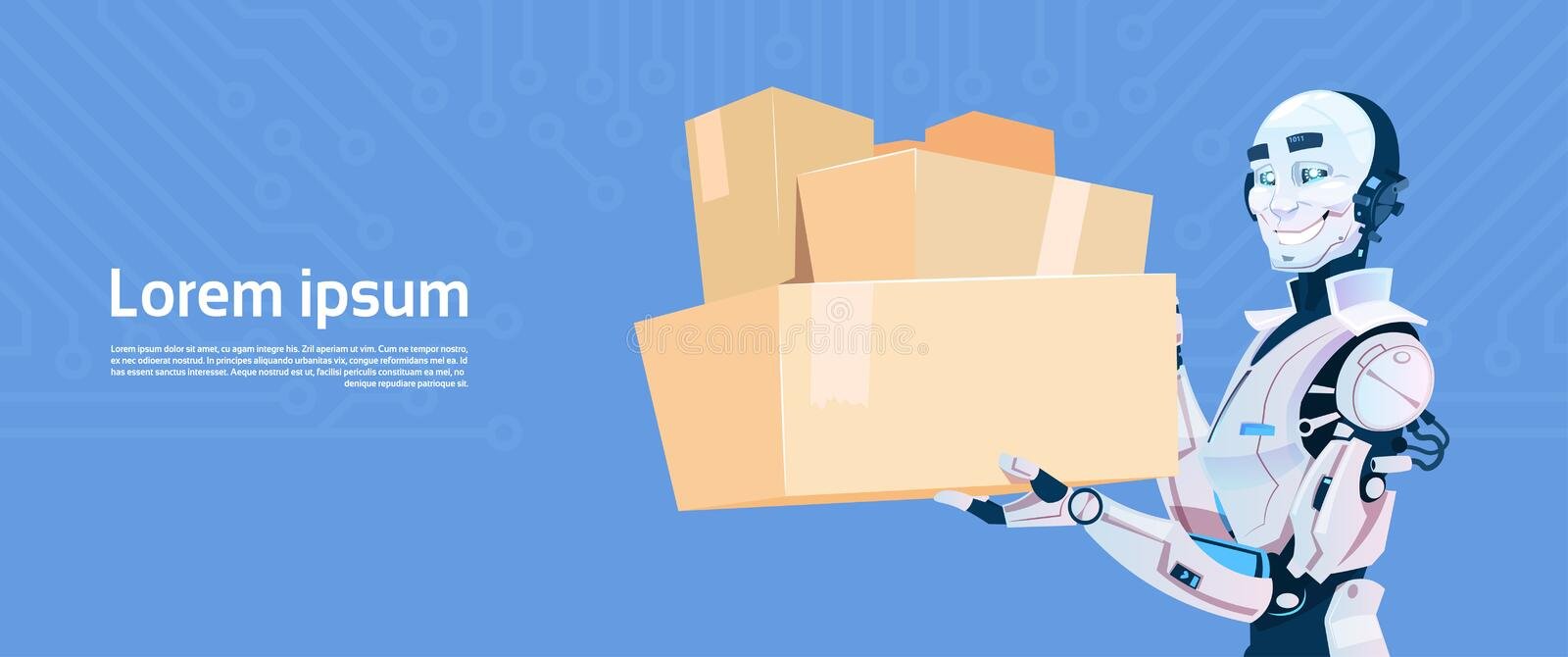 Modern Robot Hold Boxed Delivery Courier Futuristic Artificial Intelligence Mechanism Technology. Flat Vector Illustration royalty free illustration