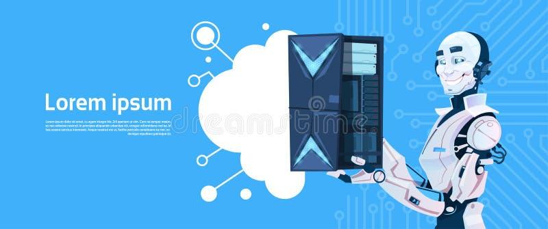 Modern Robot Hold Cloud Database Server, Futuristic Artificial Intelligence Mechanism Technology royalty free illustration