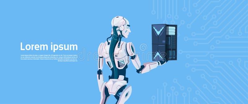 Modern Robot Hold Cloud Database Server, Futuristic Artificial Intelligence Mechanism Technology. Flat Vector Illustration royalty free illustration