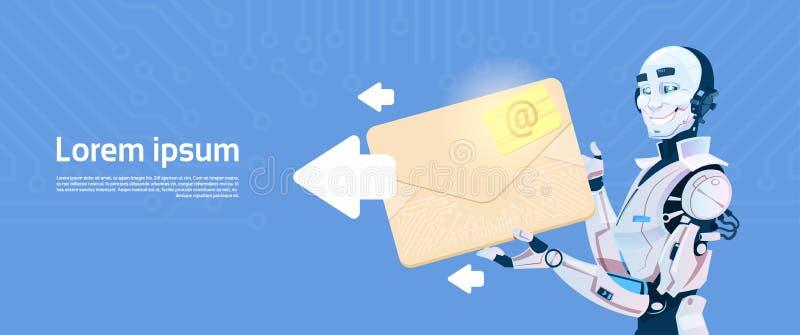 Modern Robot Hold Envelope Sending Email Message, Futuristic Artificial Intelligence Mechanism Technology. Flat Vector Illustration royalty free illustration