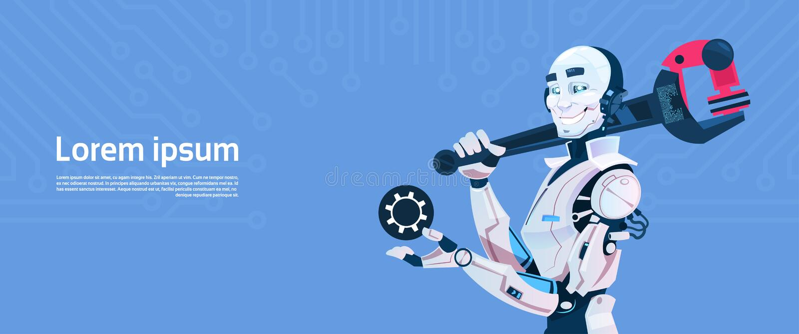 Modern Robot Hold Hold Spanner Wrench, Futuristic Artificial Intelligence Mechanism Technology. Flat Vector Illustration royalty free illustration