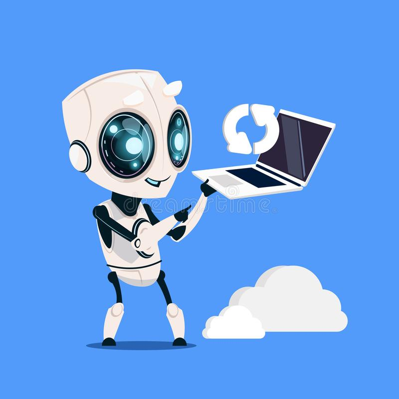 Modern Robot Hold Laptop Computer Updating On Blue Background Cute Cartoon Character Artificial Intelligence Concept royalty free illustration