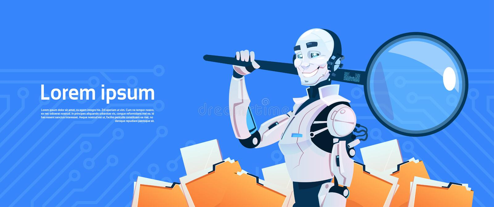 Modern Robot Hold Magnifying Glass Data Search Concept, Futuristic Artificial Intelligence Mechanism Technology. Flat Vector Illustration royalty free illustration
