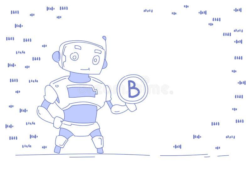 Modern robot holding bitcoin virtual money wealth growth artificial intelligence concept bot helper mining crypto vector illustration