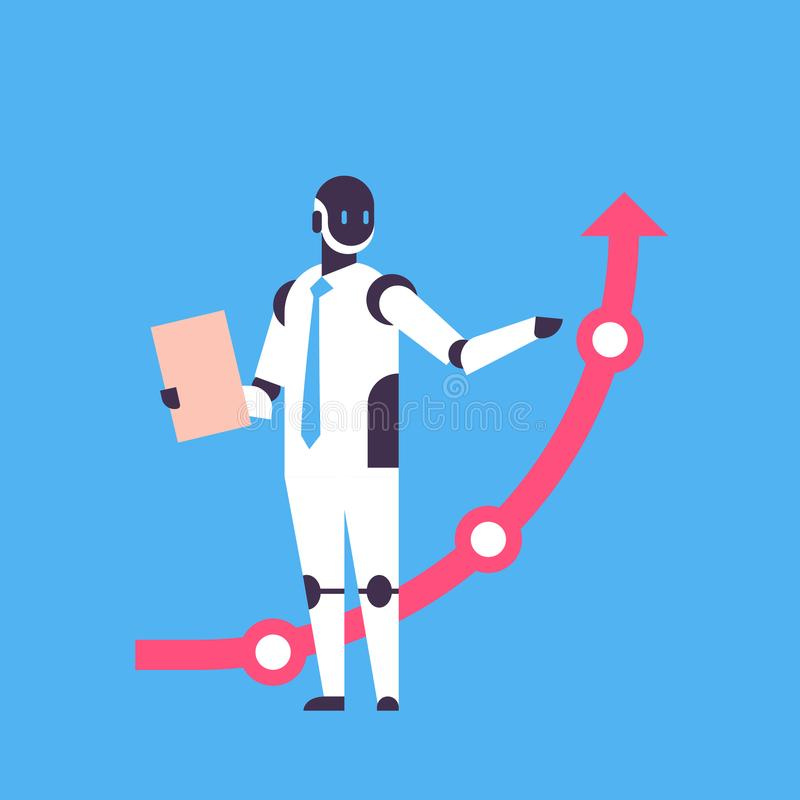 Modern robot holding financial arrow up finance protection concept artificial intelligence blue background flat full stock illustration
