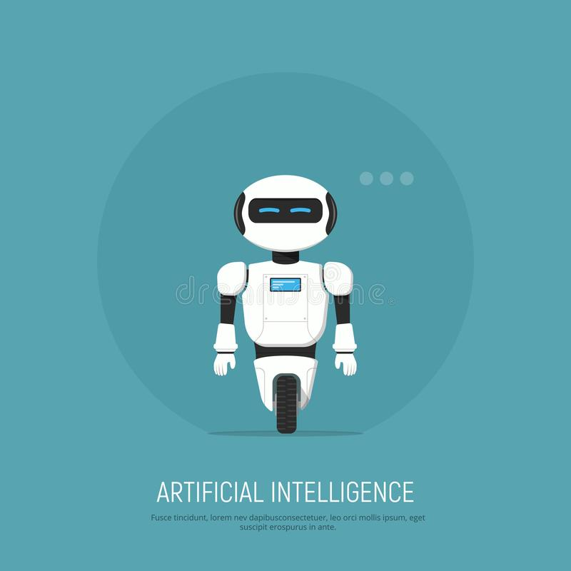 Modern robot i plan stil Konstgjord intelligens för begrepp vektor illustrationer