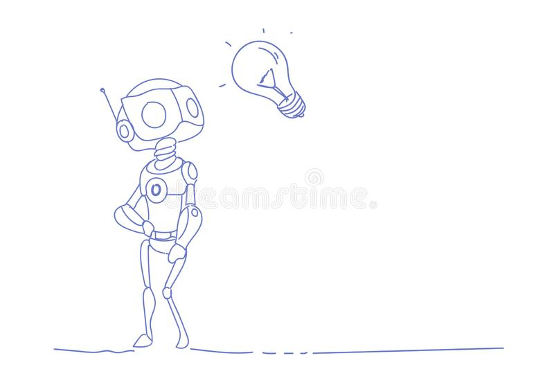 Modern robot inspiration light lamp new idea innovation artificial intelligence technology concept sketch doodle royalty free illustration