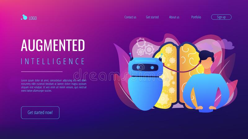 Augmented intelligence concept landing page. stock illustration