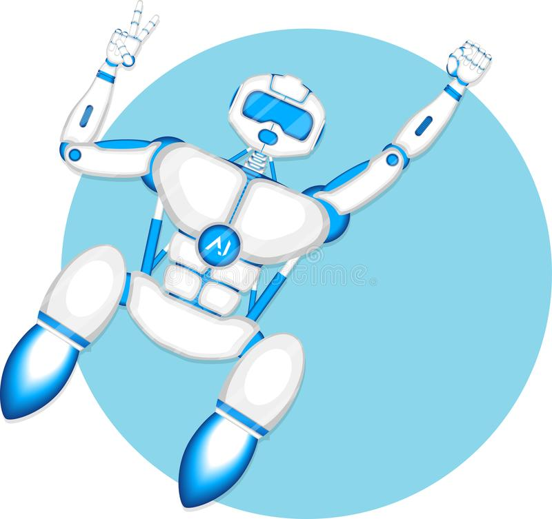 Modern robot isolated on blue background royalty free illustration