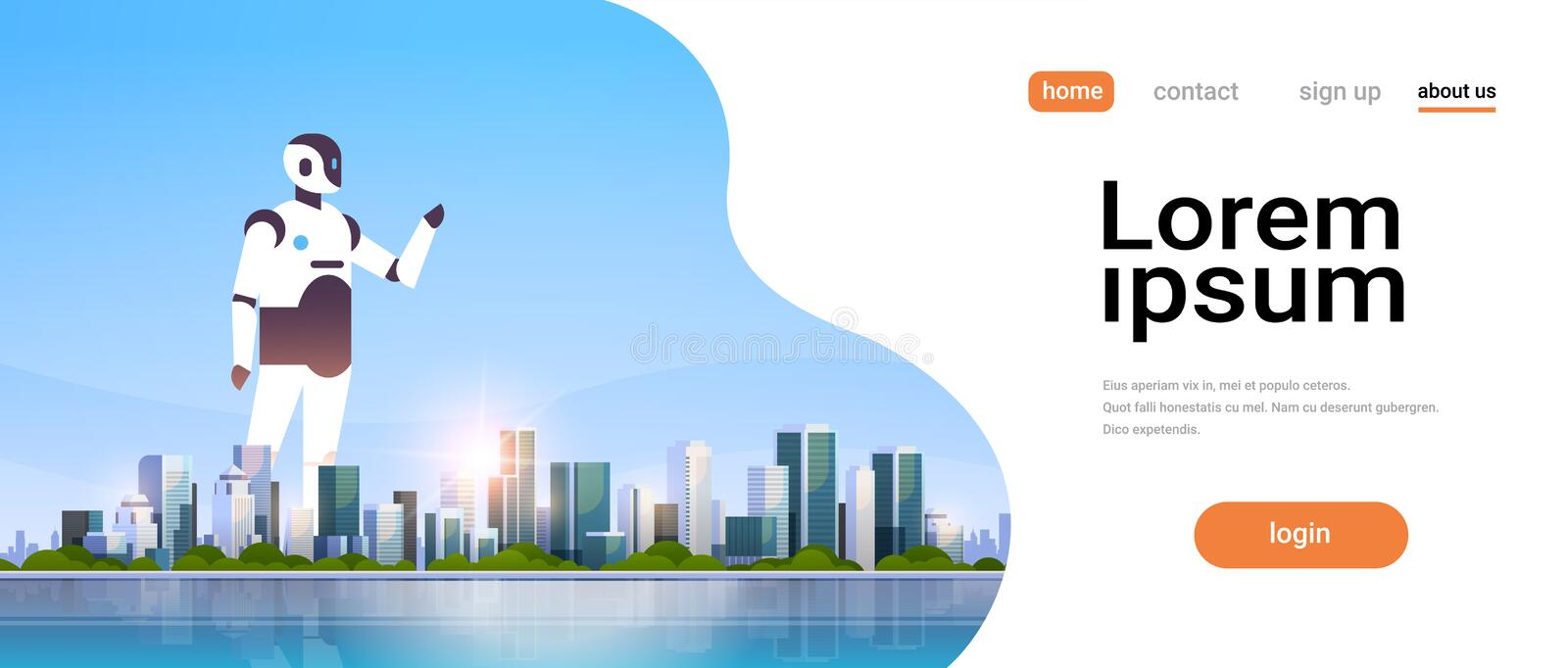 Modern robot pointing finger on copy space artificial intelligence technology concept over big modern city skyscraper. Cityscape skyline flat horizontal vector stock illustration