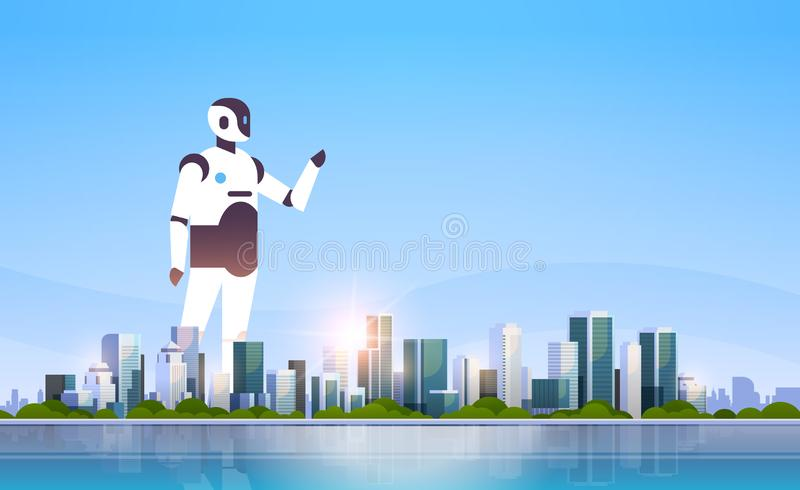 Modern robot pointing finger something artificial intelligence technology concept over big modern city skyscraper. Cityscape skyline flat horizontal vector royalty free illustration