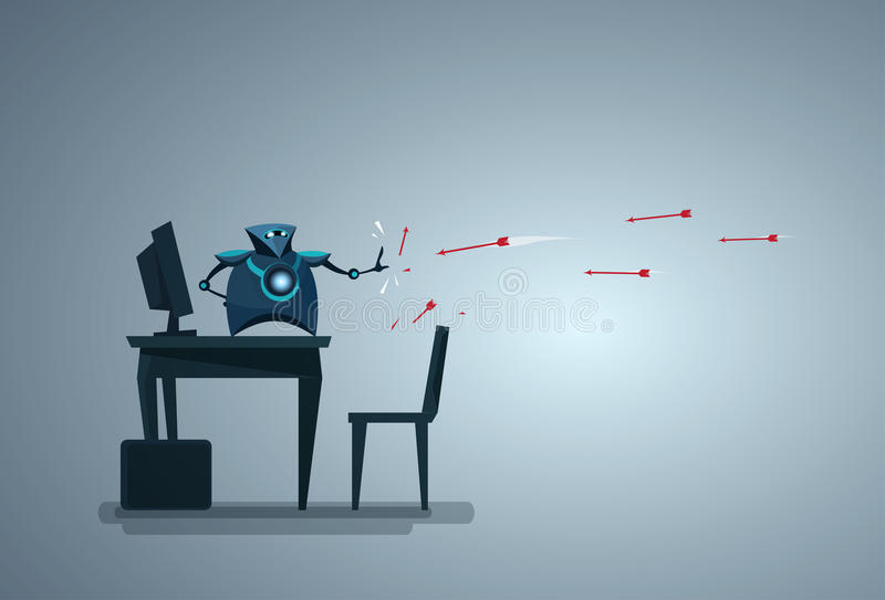 Modern Robot Protecting Computer Database From Attack Artificial Intelligence Data Security Technology. Vector Illustration stock illustration